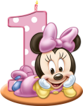 1st Birthday Candle Png - Baby Minnie Mouse 1st Birthday, Transparent Png