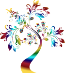 Colorful Floral Design Png - Transparent Tree Clipart Black And White, Png Download