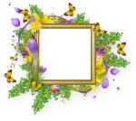 Flower And Butterfly Border Design Png Cadres Et Bordures - Border Design With Flowers And Butterfly, Transparent Png