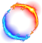 Dragon Fire Ice Light Circle Yellow Blue Magic Ftestick - Circle Of Fire Png, Transparent Png
