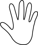 Handprint Outline Hand Outline Hands Templates And - White Hand Clipart, HD Png Download