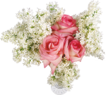 021 Flower Designs With Roses And White Lilac Transparent - Rose Vase Transparent Background, HD Png Download