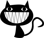 Graphic Free Download Cats Vector Open Mouth - Black Cat Face Cartoon, HD Png Download