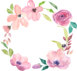 Watercolor Flowers Hand Drawn Wreath Decorative Elements, HD Png Download