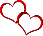 Heart Outline Couple Red - Hearts Png, Transparent Png
