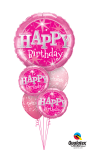 Balloon Bouquets - Pink Happy Birthday Balloons Bouquet, HD Png Download