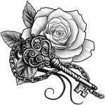 #ftestickers #rose #tattoo #rosetattoo #blackandwhite - Key With Rose Tattoo, HD Png Download