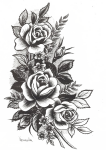 Rose Tattoo Png High-quality Image - Flowers Design Tattoo, Transparent Png