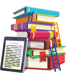Icon Of A Stack Of Colorful Books With Ladders Leaning - Colorful Books Icon Png, Transparent Png