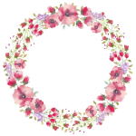 Watercolor Flower Border Free Download Png Files - Circle Watercolor Flowers Transparent, Png Download