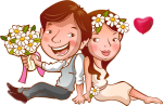 Wedding Invitation Template Cartoon - Lovely Couple Cartoon Png, Transparent Png